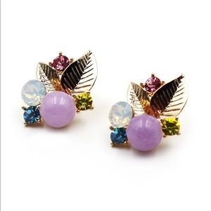 Lovely golden purple leaves crystal earrings